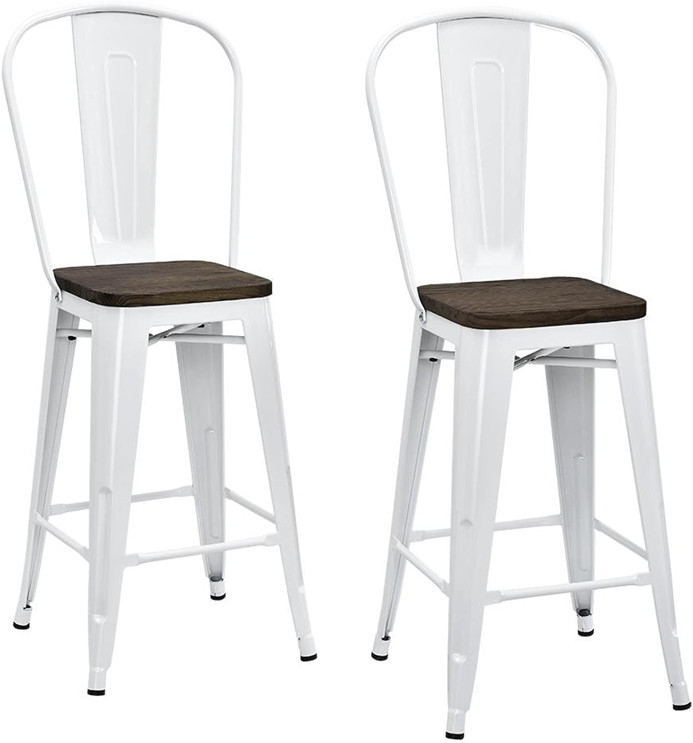 DHP Luxor Metal Counter Stool with Wood Seat and Backrest, Set of Two, 24 , White