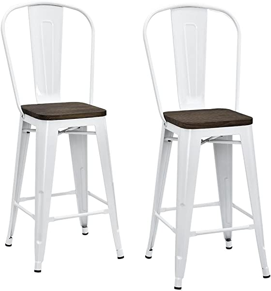 DHP P Luxor Metal Counter Stool With Wood Seat And Backrest White