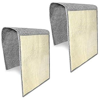 Navaris Tapis griffoir pour Chats - Protection canapé Meuble Sol Mur - Lot de 2X Tapis en sisal et Lin - 130 x 45 cm - Adapté pour Chaton Chien