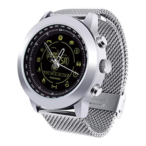 Rastreador de actividad, ritmo cardíaco, presión arterial, podómetro, reloj inteligente, multifuncional, IP67, resistente al agua, color plateado