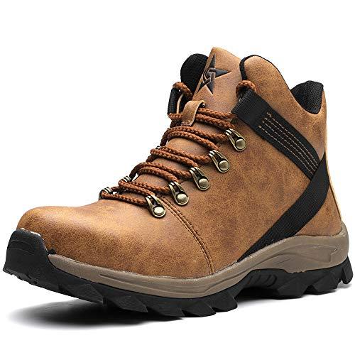 Zapatos de seguridad de los hombres de las mujeres botas de seguridad impermeable ligero acero dedo del pie Cap entrenadores botas de trabajo, color Marrón, talla 42 1/3 EU