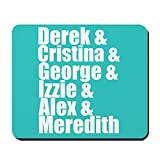 Gaming Mouse Pad for Notepad Grey's Anatomy Names Non-slip Rubber School Desk Decor Mouse Pad for Laptop 10 x 8 Inch