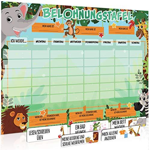 Luigi s Tablero grande de recompensas de animales de safari para niños: fomenta el buen comportamiento y se puede personalizar con una selección de imanes y marcadores de pizarra blanca