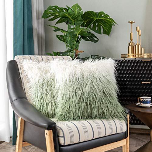 Kevin Textile Set of 2 Gradient Plush Green Decorative New Luxury Series Merino Style Fur Throw Pillow Case Cushion Cover 18' x 18' 45cm x 45cm