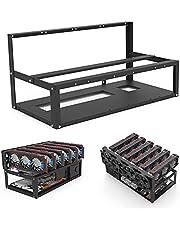 オープンシャーシフレームオープンマイニングリグフレームコンピューターラック6GPU耐久性のあるステンレス鋼オープンエアマイナーマイニングリグフレームケーススタッカブルマイナーラック6グラフィックカードホルダー6GPUラック