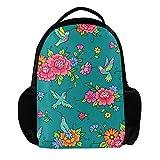 TIZORAX Colibri Floral Colibri Mochila Escolar para Viaje o portátil para Hombres y Mujeres