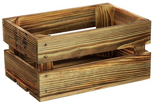 LAUBLUST Kleine Holzkiste Vintage - 30x20x15 cm, Geflammt - Aufbewahrungskiste | Möbel-Kiste | Geschenkkorb | Dekobox