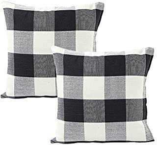 Foucome Country Style Cotton Linen Buffalo Pillow Case Black & White Check Car Bed Sofa Throw Pillow Covers Waist Home Decor Cushion Covers,20