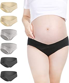 OLCHEE Women's Under The Bump Maternity Panties Cotton Comfy Pregnancy Underwear Multi Pack