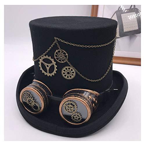 JIANGJINLAN Weinlese Steampunk Gang Brille Blumen schwarzen Zylinder Punkart Fedora Kopfbedeckung Gothic Lolita Cosplay Hut (Color : Black, Size : 59cm)