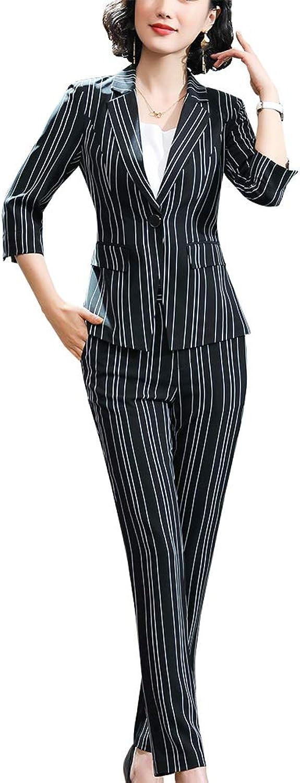 SUSIELADY Women's 2 Piece Stripes Suits Set for Business Slim Fit Suits Set Office Lady Blazer Jacket Pants