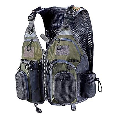 PELLOR Fly Fishing Vest, Pockets Jacket, Outdoor Quick-Dry Net Vest, Fishing Hunting Waistcoat, Travel Photography Mesh Vest