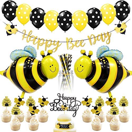 Bienenparty-Dekorationen - Hummelparty-Dekorationen für Geburtstag und Babyparty, Papierstrohhalme, Bienenballons, Happy Bee Day-Banner und Kuchendeckel