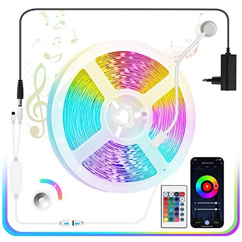 LED Strip 5M mit Bluetooth MESH, Fansteck LED Streifen 5050 SMD RGB, LED Band Lichterkette Dimmbar Farbwechsel mit Countdown, APP-Steuerung, Fernbedienung, Sync mit Musik für Party Bars,12V Netzteil