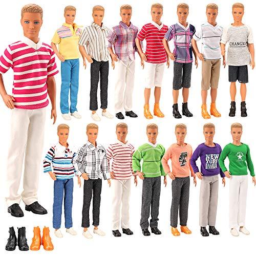 Miunana Lot 8 Kleidung für Jungen Puppen = 3 Freizeitbekleidung + 3 Hosen +2 Paar Schuhe