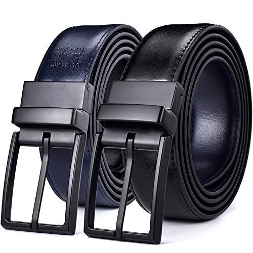 S`good Riemen Heren Leather Reversible Belt - Classic & Fashion Design Zwart/Blauw Two In One Riemen Met Rotated Buckle Ceinture #111 (Color : A, Size : 100cm (Waist 85cm))