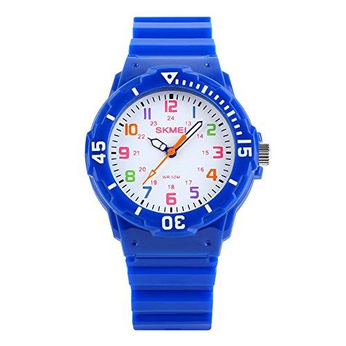 TONSHEN Relojes Niños Analógico Cuarzo Impermeable 50M Resistente Agua Outdoor Deportivos Cartoon Relojes de Pulsera Plástico Bisel Y Correa Goma Color Dial Diseño Simple (Azul)