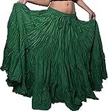 Wevez Women's Belly Dance Cotton 12 Yard Skirt (Green)