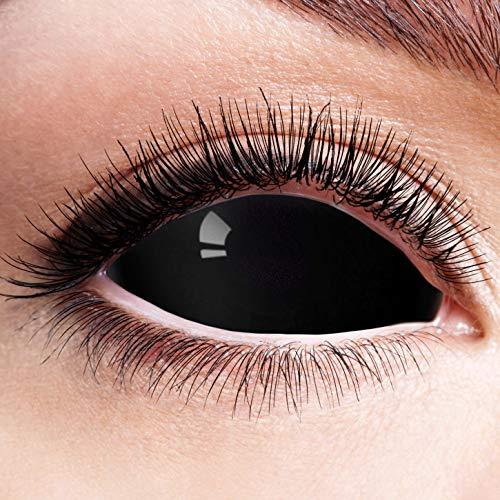 Farbige Kontaktlinsen Schwarz Motivlinsen Ohne Stärke Motiv Linsen Halloween Karneval Fasching Cosplay Anime Kostüm Sclera 22mm Black Eyes Komplett Schwarze Augen Eye