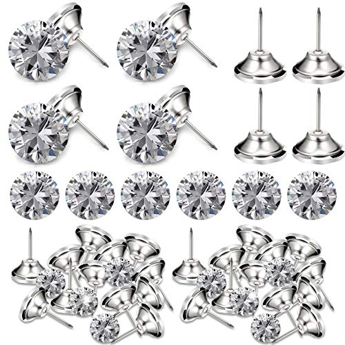 30 Pieces Crystal Upholstery Buttons Crystal Upholstery Tacks Clear Crystal Head Upholstery Nails Imitate Diamond Buttons for Sewing DIY Sofa and Wall Decor, (16 mm)
