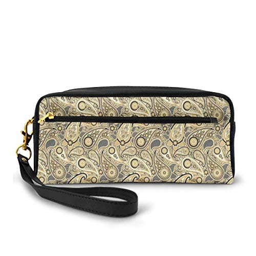 Pencil Case Pen Bag Pouch Stationary,Traditional Asian Pattern with Flowers Leaves with Stripes Artwork Print,Small Makeup Bag Coin Purse