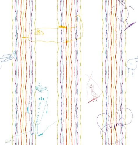 Bunte Doodle Streifen Tapete: Ich war's nicht mit Zeichnungen - Vliestapete Kinder - Moderne Wanddeko - GMM Wandtapete für fröhliche Wohnakzente (um Wände halb hoch zu tapezieren H: 1,5m B: 46.5cm)