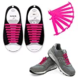 Talent Fashion Kids/Adults Multicolor Tieless Elastic Silicone No Tie Shoelaces Waterproof Rubber Flat Running Shoe Laces for Sneakers Board Shoes Casual Shoes and Boots Adult Pink