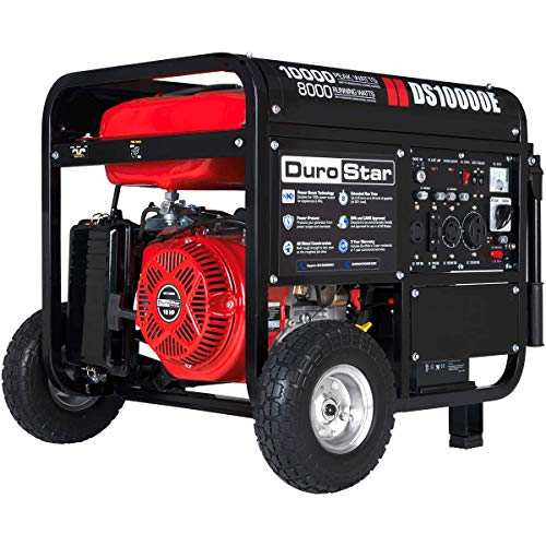 DuroStar DS10000E Gas Powered Portable Generator - 10000 Watt -Electric Start- Home Back Up & RV Ready, 50 State Approved