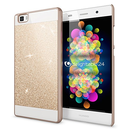 NALIA Handyhülle kompatibel mit Huawei P8 Lite, Glitzer Slim Hard-Case Hülle Back-Cover Schutzhülle, Handy-Tasche im Glitter Sparkle Design, Dünnes Bling Strass Stoßfestes Smart-Phone Etui - Gold
