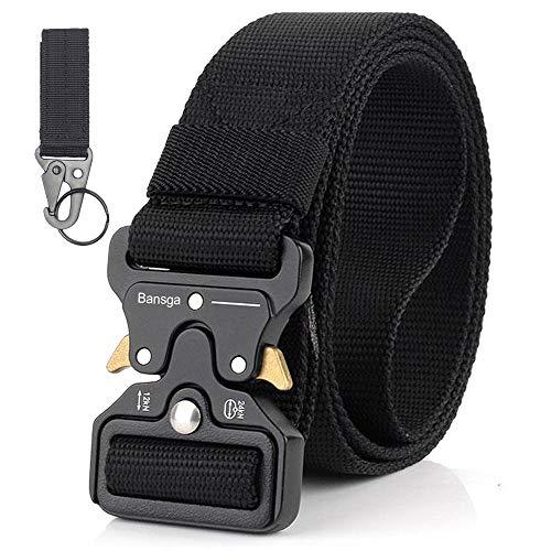 Taktischer Gürtel,Heavy Duty verstellbare Military Style Nylon Gürtel mit Zink Legierung Schnalle, militärischen Schnellverschluss Schnalle Taillenband(A-schwarz)
