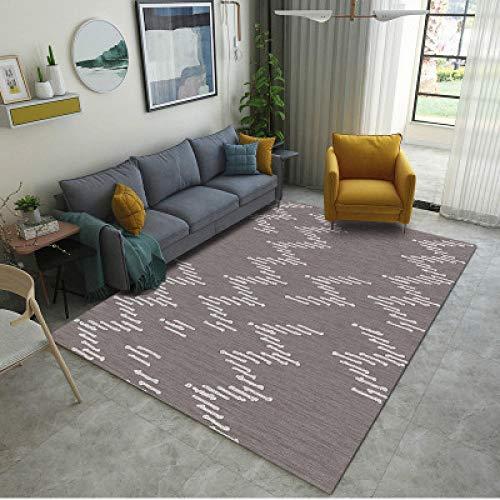 LVQIANHOME Teppiche Dunkelbraune Weiße Streifen Abstraktes Geometrisches Muster Teppich Wohnzimmer Schlafzimmer Teppich Modell Zimmer Teppich Maschinenwaschbar-160X230Cm