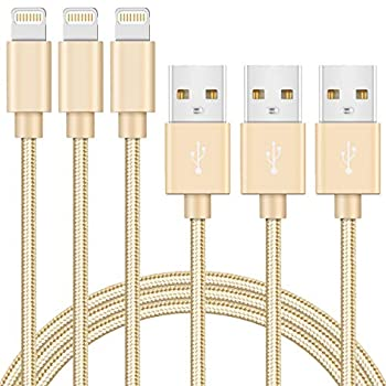 iPhone Charger Cable 3 Pack 6ft MFi Certified Lightning to USB Cable Nylon Braided Fast Charging Syncing Cord Compatible with iPhone 12 SE 11 Pro X Xs Max XR 8 7 6 Plus iPad AirPods Pro  Gold
