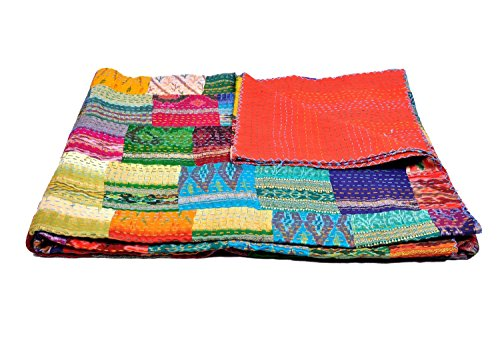 Online Big Bazar - Funda de edredón para cama de matrimonio, seda, diseño de Sari indio, reversible, parche hecho a mano