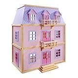 Melissa & Doug Mehrstöckiges Puppenhaus aus Holz mit Möbeln (19 Teile)