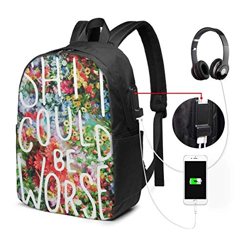 sunnyl Schlümpfe Yingda Tropical Cactus 17-Zoll-Laptop-Rucksack mit USB-Ladeanschluss Herrenrucksack, TSA-Laptop-Rucksack College-Schulrucksack Geschäftsreisen aus der großen Schultasche