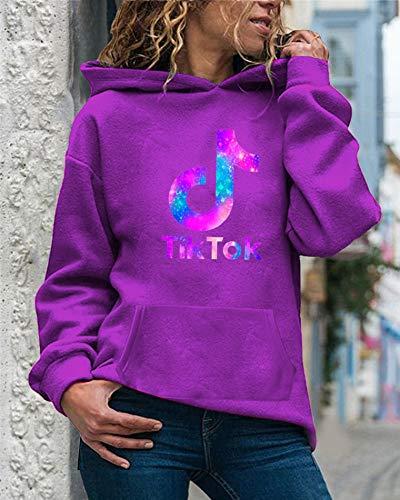 YU-K Tik Tok Damen Strickpullover mit Kapuze Sport und Fitness Pullover Langarm, Unisex Hoodies Strickpullover für Teenager und Erwachsene/Lila/L