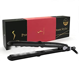 INSHERE Straighter and Curler 2 in 1 Professional Steam Ceramic Flat Iron, Digital LCD Display, Salon Styler Vapor ceramic quick heating Straighter, Voltage 110-240V, 50-60Hz