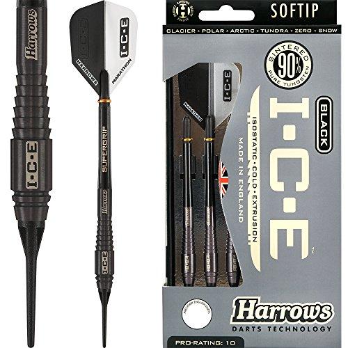 HARROWS schwarz I.C.E Darts–Soft Spitze–Barrel Gewicht 16,5g–Polar 18g–mit Darts Ecke gebogen Kugelschreiber
