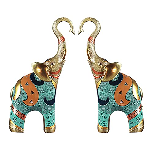 Collectible Figurines Statues Elephant Ornaments A Pair of Resin Handicraft Sculptures Creative Porch Wine Cabinet Decoration Ornaments Sculptures (Color : Green, Size : 821cm)