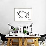Picasso Wildschwein Linie Zeichnung Poster Drucke Abstrakt