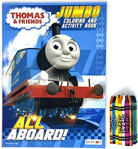Party Deal Kids Coloring & Activity Book – 1 Pack with Crayons (Thomas)