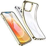 ESR Klar Silikon Hülle Kompatibel mit 12 Pro Transparente Polymer Hülle Goldener Rahmen