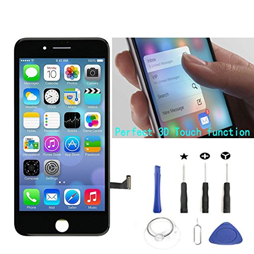 PassionTR Black Replacement LCD Screen Compatible with iPhone 7 4.7 Inch Display Digitizer Assembly Full Complete Front Glass with Repair Tools