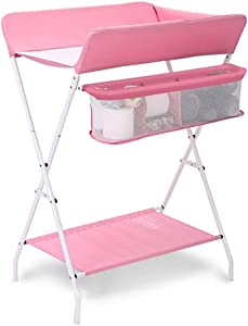CWJ Small Bed for Look After Baby Without Bending Over Diaper Changing Tables with Storage Folding Baby Nappy Changing Station Dresser Cross Leg 100 Cm 109 Height Storage Desk L-75 60 108Cm