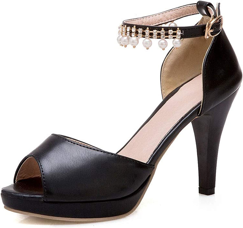 Moden Fish Mouth Sandals med spännen spännen spännen med tjocka hälar Kvinnliga skor (färg  B, Storlek  5.5 US)  mer ordning