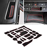 JDMCAR Custom Liner Accessories Compatible with Colorado and Canyon 2015-2021, Cup Holder, Door Pocket, and Center Console Insert Mat Kit 26-PC Set (Crew Cab, Red Trim)