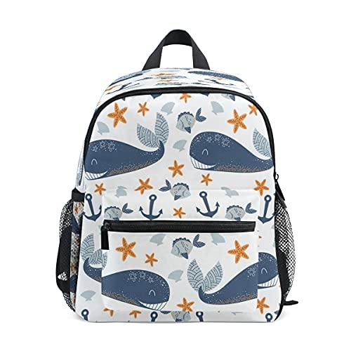 Mochila para niñas y niños, con ancla de ballena, estrella de mar, Kindergarten escuela primaria, bolsa de libros lindos