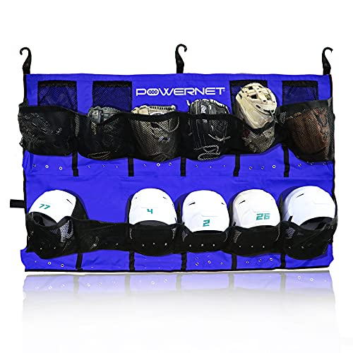 PowerNet PowerPro Hanging Helmet Organizer Bag for Baseball Softball Teams | Holds Up to 12 Helmets | Rolls Up with Buckle Closure and Carrying Straps | Dugout Roll Up Bag (Royal Blue)