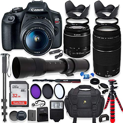 Canon EOS Rebel T7 DSLR Camera with 18-55mm is II Lens Bundle + Canon EF 75-300mm III Lens &...