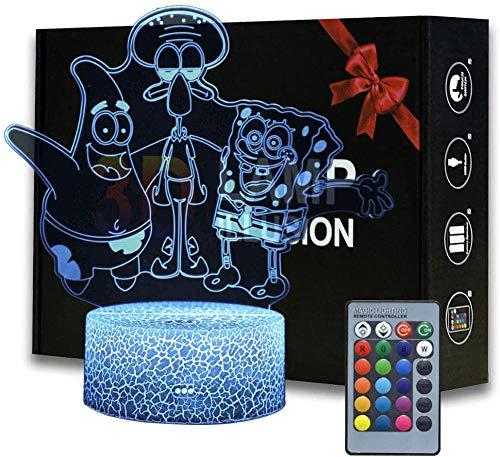 3D Illusion Lampe LED Nachtlicht, Optische 3D-Illusions-Lampen Tischlampe Nachtlichter16Farben Berührungsschalter Schreibtischlampe USB-Kabel Kinder Nachtlampe SpongeBob